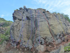 Rock Climbing Photo: blue is sport, red is trad, yellow is top rope onl...