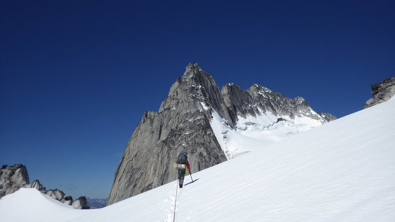 First view of Howser Towers from the Pigeon Fork of the Upper Bugaboo Glacier.