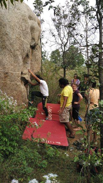 Rock Climbing Photo: Dhiraj at the start.