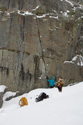 Rock Climbing Photo: Wicket climbs the left leaning crack past three bo...