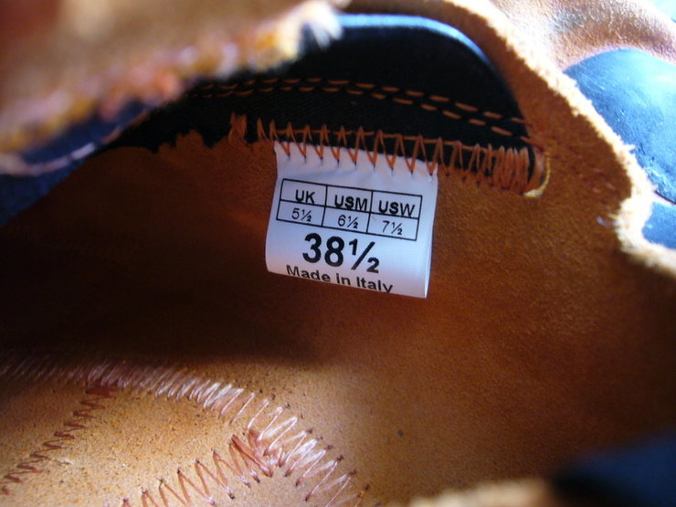 Size 38.5 tag on inside