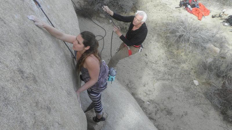 Rock Climbing Photo: Jackie Miranda sheds the mantle.