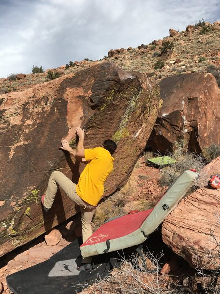 Rock Climbing Photo: Cory Taylor demonstrating the start holds.