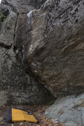 Rock Climbing Photo: The problem in it's semi-dry glory. Start on the l...