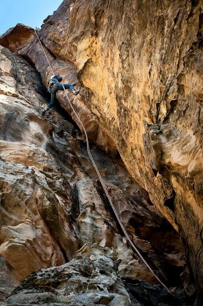 Rappelling down the second pitch of Past Lives
