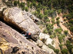 Rock Climbing Photo: Colin leading the final pitch of Past Lives with o...