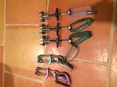 Rock Climbing Photo: DMM Cams (sizes 1/2 purple, 3/4 green) BD Cams (.5...