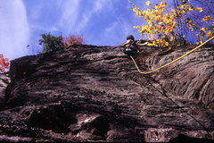 Rock Climbing Photo: John Corville doing a FA (?) in the '70s about 5.8...