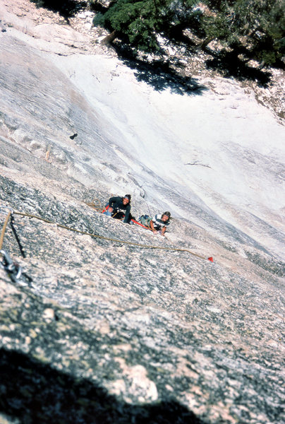 "Tim Loose and Bruce Morris on the FA of ""Crying Time Again"" (5.9+) in July 1975"