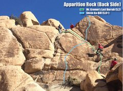 Preliminary route map for right side of Apparition Rock Backside