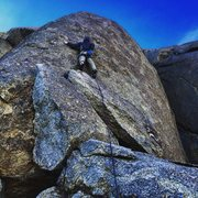 Rock Climbing Photo: The first bolt is easily reached when standing ato...