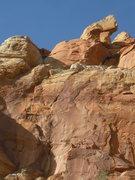 Rock Climbing Photo: Pitch 2 follows the dog leg anti splitter. P3 blas...