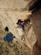 Rock Climbing Photo: Jill coming up toward the overhanging hands finish...