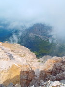 Rock Climbing Photo: View down the route from the summit of Piz Selva