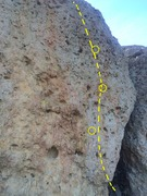 Rock Climbing Photo: Route follows the line from the low point on the r...
