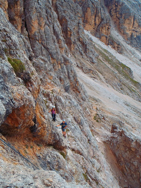 Rock Climbing Photo: Starting the cable. Approach path in the backgroun...