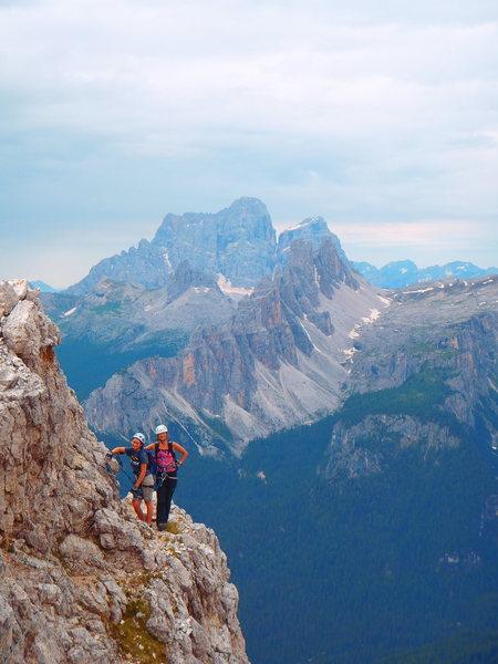 Rock Climbing Photo: Half way up. Croda da Lago and Pelmo in the distan...