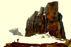 "Rock Climbing Photo: the ""normal"" route goes up a middle crac..."
