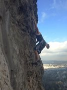 Rock Climbing Photo: Reaching for the hueco in the middle of the second...
