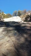 Rock Climbing Photo: First & Second bolt... climb toward oak tree at to...