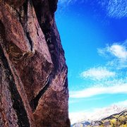 Rock Climbing Photo: Looking out on the traverse pitch (3).  Tor is at ...