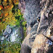 Rock Climbing Photo: Rapping down P5. Tor is at the belay at the top of...