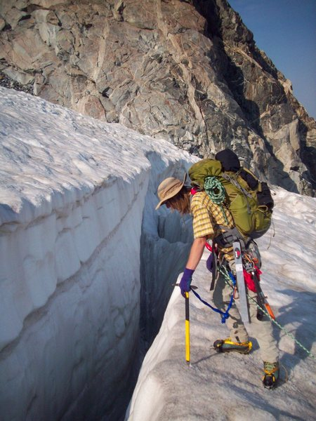 Crevasse on Sphinx glacier, which faces you as you descend from Bonney pass.
