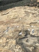Rock Climbing Photo: One set of bolts for the middle portion of the fac...