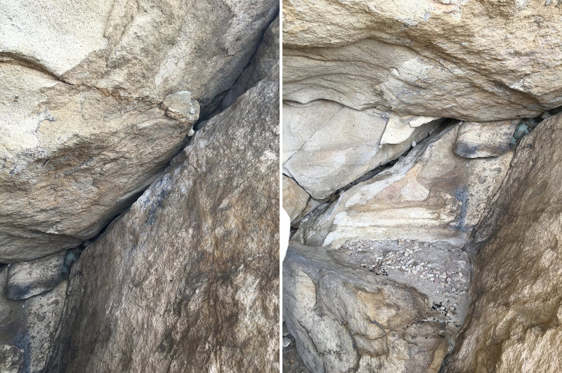 Within the cave are some cracks to build an anchor from.