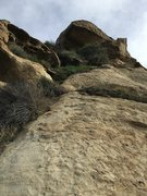 Rock Climbing Photo: Looking up the rock from the bottom along the corn...