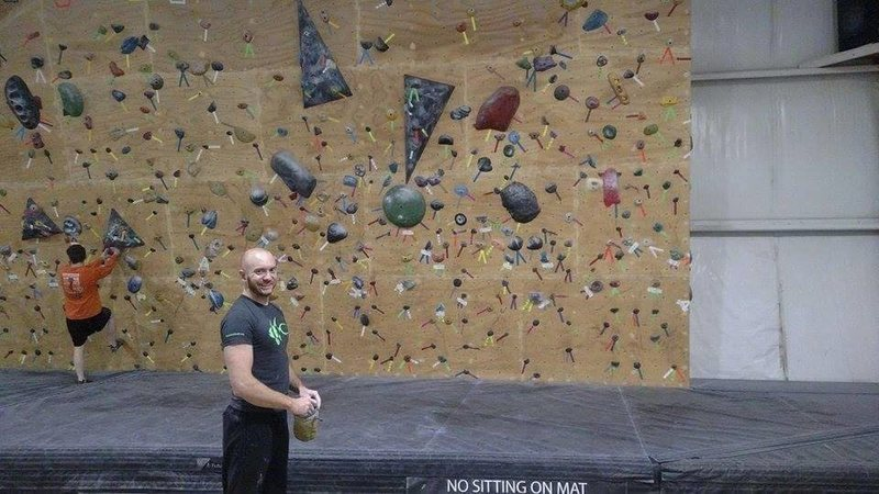 Rock Climbing Photo: During TB's first day at Crimpers Climbing Gym in ...