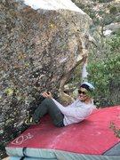 Rock Climbing Photo: Jonah demonstrating the starting holds
