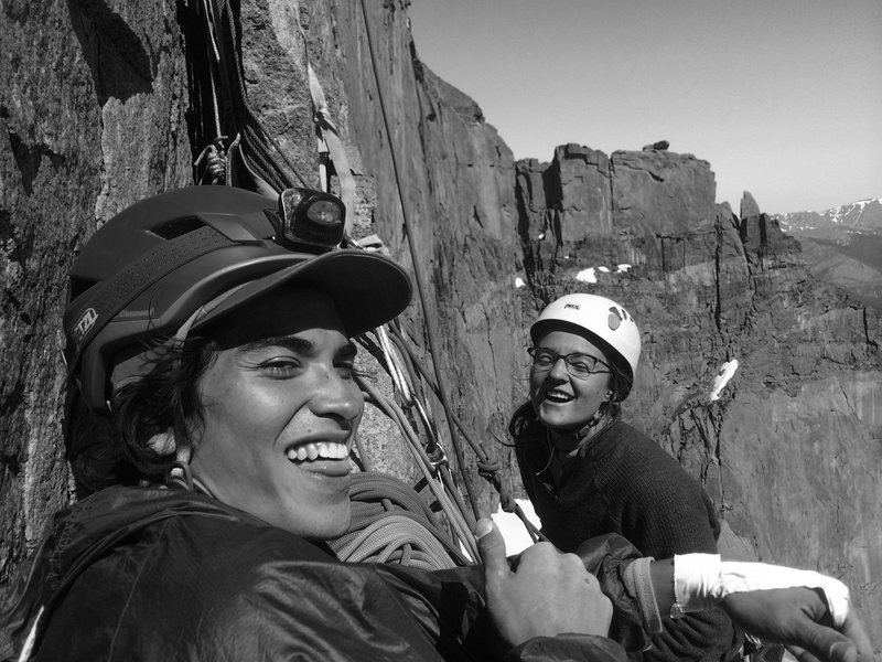 Rock Climbing Photo: Laughing up Pervertical on a blue bird day.