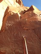 Rock Climbing Photo: Looking up at the finish from the ledge with bolts...