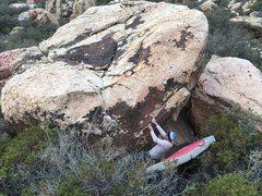 Rock Climbing Photo: Jonah on the starting holds.