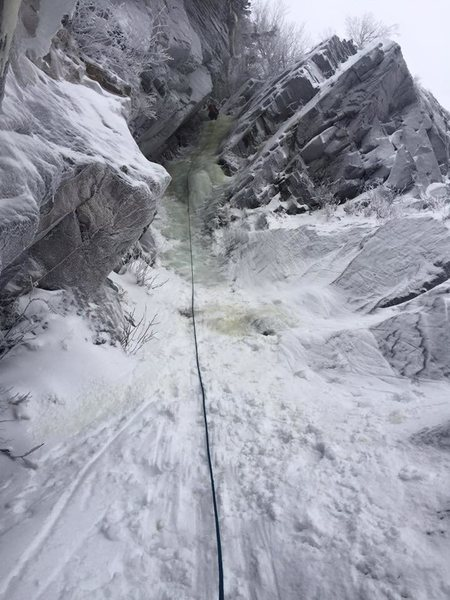 Ascending Upper Hitchcock in early winter conditions