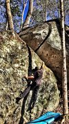 Rock Climbing Photo: Working my way up Split Decision (Sloper)