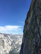 Rock Climbing Photo: Here I am traversing Thank God Ledge.