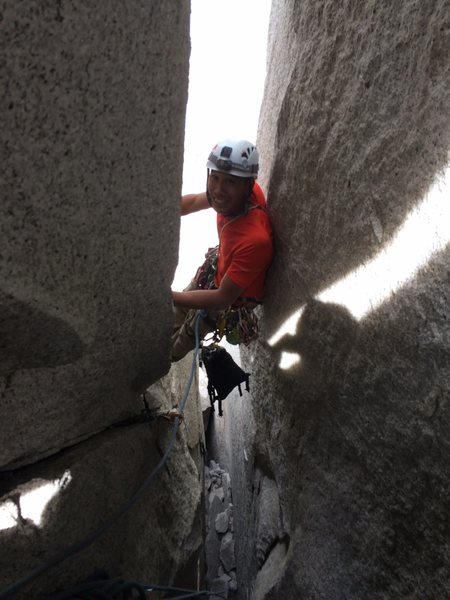 Rock Climbing Photo: Clement squeezing up the chimneys