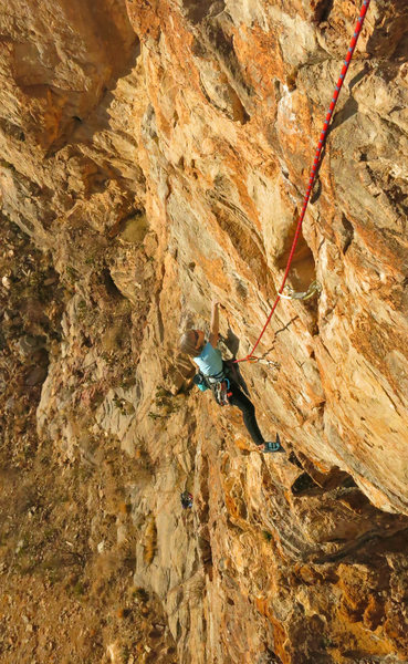Rock Climbing Photo: Susan starts the steep finish Stones of Sysyphus (...