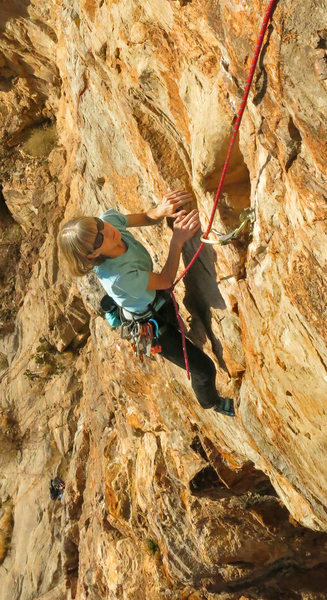 Cruising through the steep crux <br> Stones of Sysyphus (5.10)