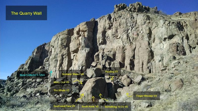 The Quarry:<br> <br> [[Bone Collector, 5.12b/c]]106141031.<br> [[Scotland 'Wales', V4]]107317567.<br> [[Moby Dick, V5]]108058219.<br> [[The Whale, V2]]106994010.<br> [[Southwest Face, V0]]107261335.<br> [[South Arete, V0]]107261314.<br> [[Something To Do, V0]]106993795.<br> [[Yearling, V1]]107261268.<br> [[Finger Wrecker, V2]]106993821.