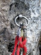 Rock Climbing Photo: Common glued in ring anchor at pitch one belay on ...
