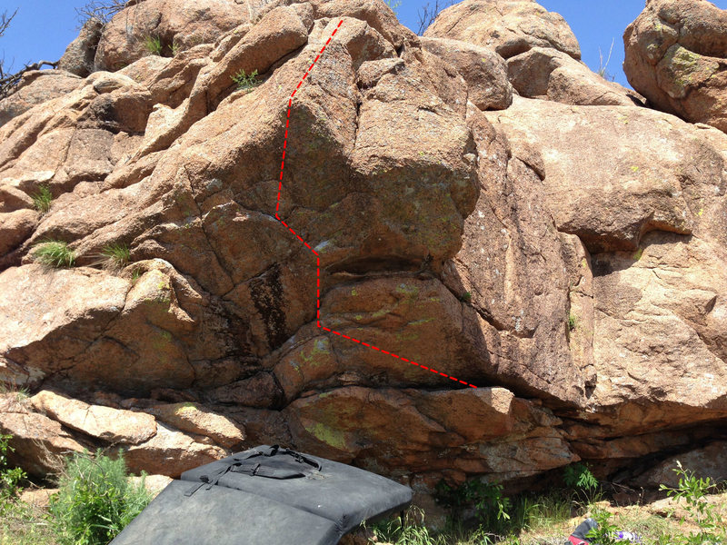 Rock Climbing Photo: Start on the large shelf to the right. Move up and...