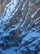Unknown climber, pic taken from catwalk in Schoolroom Area of Ouray Ice Park