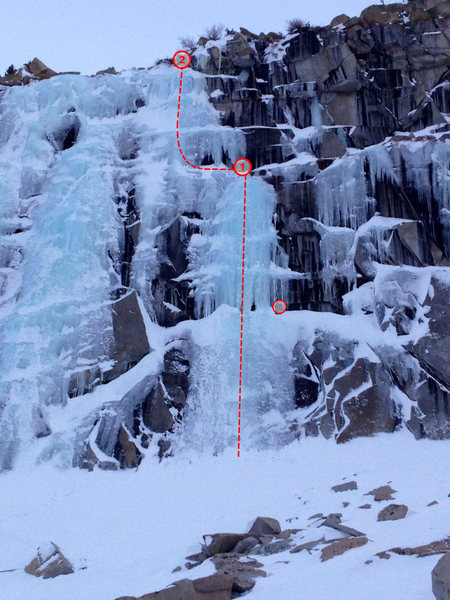 Caveman, showing the bolted anchors and the optional anchor before the meat of the route.