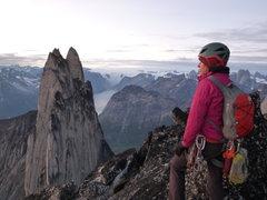 Rock Climbing Photo: Jenny Antin on the summit of KP