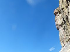 Rock Climbing Photo: Here is a route photo to show the variation. Purpl...