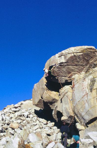 "Rock Climbing Photo: ""Triple Ripple"" (5.10b) with heel hook"