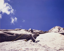 Rock Climbing Photo: Gary Hall leading an early pitch, August 1974